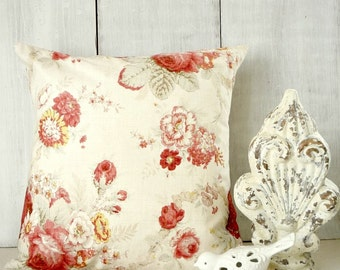 Roses Pillow Cover - Red Roses Throw Pillow Cover - Red and Beige - Shabby Cottage Chic Pillow - Romantic Cottage Decor