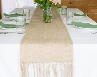 Burlap Table Runner, Fringed, 14 x 108 inches, best used on 8 ft table