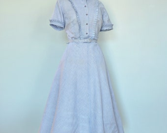 Vintage 1950s Day Dress...PAT PERKINS Cotton Gingham Day Dress NOS