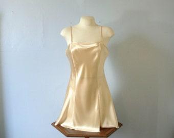 Vintage 90's Champagne silk slip dress camisole, Victoria's Secret size medium