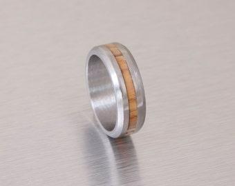 Titanium Wood ring  Titanium Ring man ring Olive Wood ring // Mens Wood Rings //wood Wedding Band //Men's  wedding Band