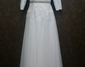 Modest Wedding Dress Long Sleeves Lace and English Net Ready to Ship