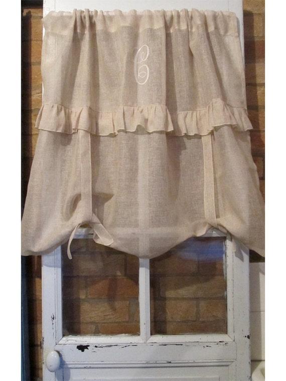 monogram sheer linen tie up window curtain ruffle