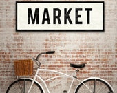 MARKET SIGN, Kitchen Sign, Large Canvas Wall Art, Vintage Home Decor, Subway Art, Kitchen Art, Farmhouse Wall Decor, Industrial Home Decor.