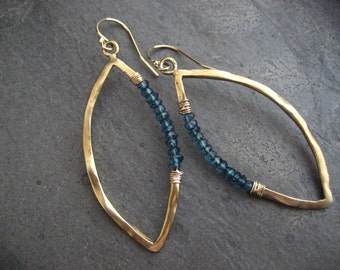 Marquis earrings, blue topaz, blue dangle, marquis hoops, gold earrings, blue topaz rondelle, wire wrapped, blue and gold, handmade, organic