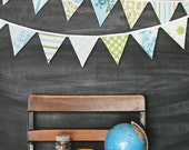 Aqua and Green Fabric Bunting Banner / Pennant Flag Garland / Vintage Nursery / Birthday Party Decoration / Baby Shower / Garden Tea Party