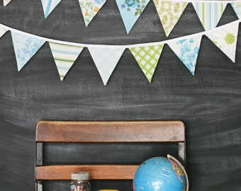 Bunting Banner / Fabric Bunting / Vintage Nursery Decor / Baby Shower Decoration / Pennant Banner / Flag Garland / Photo Prop / Aqua Blue