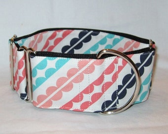 SALE Serenity Stripes Martingale Dog Collar - 1.5 or 2 Inch - scalloped striped blue pink mauve colorful teal navy bright cream classic