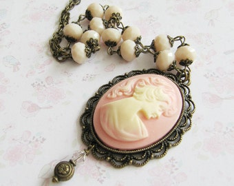 Victorian Pink Cameo Necklace. Women romantic cameo necklace. Pink Jewelry. Antique style cameo pendant. Vintage style necklace.