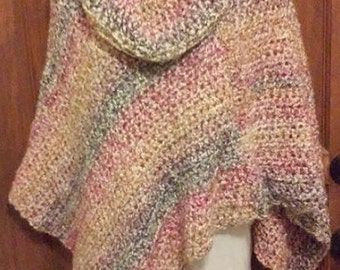 Asymmetrical Poncho - Berries and Cream