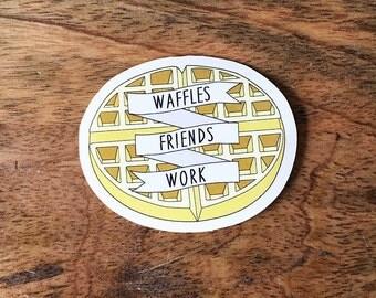 Leslie Knope - Waffles Friends Work - Vinyl Stickers