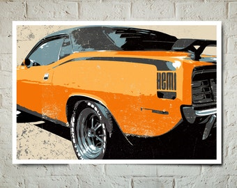 Car Art - Hemi Cuda Muscle Car - Auto Art, Automobile Art, Automotive Decor, Man Cave Art, Car Gift, Art Print, Race Car Poster, Garage Art