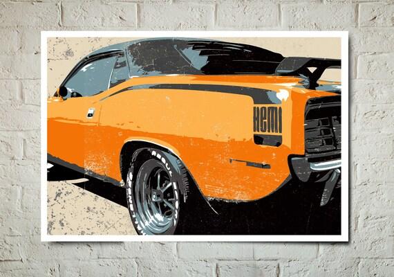 Vintage, Muscle Car, Art Print, Automotive, Wall Art, Car Illustration, Car Print, Man Cave Decor, Car Gift, Poster size, Garage Decor