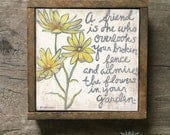 Yellow and Gray Wall Art, Yellow Flowers Print, Friendship Quotes, Unique Gift for Friend, Friendship, Gift for Friend, Yellow Flowers Print