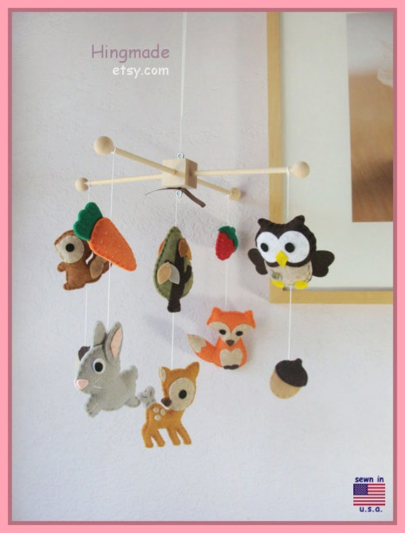 On sale baby mobile nursery decor woodland friends by hingmade for Woodland animals nursery mobile