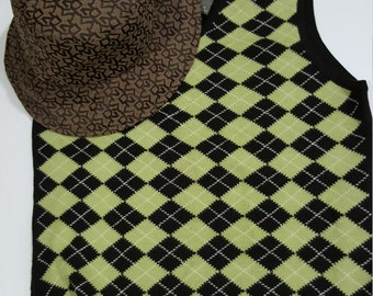 90s Vintage NOS New Never Worn Merino Wool ck CALVIN KLEIN Brown Lime Green Checkered Vest Top  - Size M - Mod, Preppy - Made in Hong Kong
