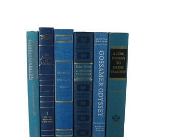 Blue Old Books, Green Books, Decorative Books , Decorative Book Set , Photo Props ,  Wedding Book Decor , Book Lover Set, Decades of Vintage