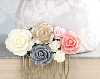 Bridal Hair Comb Blush Pink and Grey Floral Collage Comb Gold Rose Wedding Hair Accessories Country Chic Bridesmaids Gift Flowers for Hair