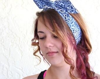 Dolly Bow, Blue Paisley, Rockabilly Wire Headband Flexible Pin Up Teen Woman Headband