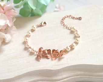 Rose Gold Bracelet Bridal Bracelet Orchid Flower Cream White Pearls Bracelet Rose Gold Wedding Jewelry Bridesmaid Gift Adjustable Bracelet