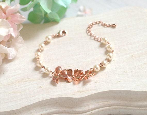 Bridal Flower Bracelet : Rose gold bracelet bridal orchid flower cream white