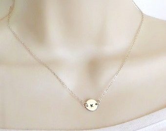 Initial Necklace, Personalized Necklace, Disc Necklace, Tiny Necklace, Delicate Necklace, Dainty Necklace, Minimal Necklace, Initial Jewelry