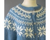 Vintage Fair Isle Sweater - 70s Wool Cardigan - Norwegian Sweater - Blue Cream Grey Nordic Sweater - Fair Isle Cardigan - 1970s Wool Sweater