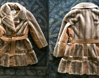 Vintage 1960's British Invasion Faux Fur Coat with Leather Detailing Women's Made in England Sold by Lilli Ann Paris San Francisco