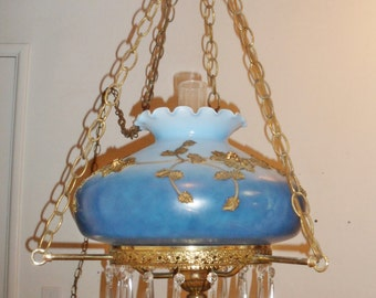 Vintage Hanging Parlor Lamp Gilt on Blue Milk Glass with Crystals