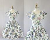 Vintage 50s Dress/ 1950s Cotton Dress/ Pink & Purple Floral Cotton Dress w/ Scalloped Trim M
