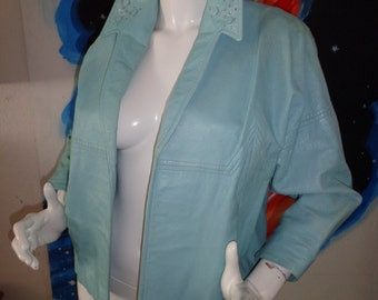 1950's BAD GIRL Baby BLUE Leather Pin Up Swing Jacket Jewels Studs Rhinestones Short Western Biker Hot Rod Glam Rockabilly VlV