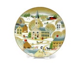 Art Plate by Betsey Bates / The Village Church / World Book Annual Christmas Plate / Signed / c1984