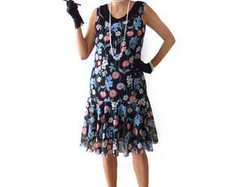 Retro Floral Flapper Dress, Roaring 20s Dress, Great Gatsby Dress, Downton Abbey Dress, Flapper Costume, Custom Size, Chiffon, Black, 1920s