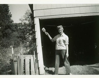"Vintage Photo ""Happy to Paint"" Snapshot Antique Photo Old Black & White Photograph Found Paper Ephemera Vernacular - 160"
