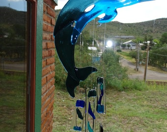 Fused Glass Dolphin Chimes