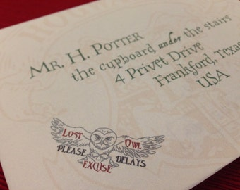 LOST OWL Deluxe Personalized Hogwarts Acceptance Letter