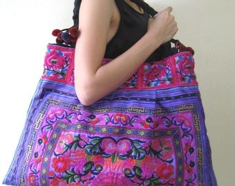 Ethnic Hobo Boho Asian Embroidered Thai Tote Shoulder Hmong HandBag