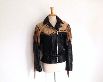 1980s Black and Tan  leather Motorcycle Jacket with tons of fringe, size small or medium