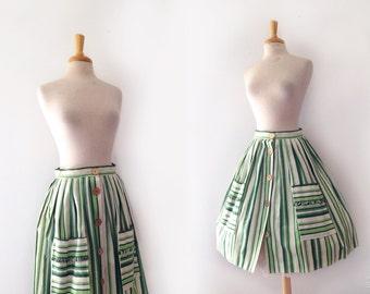1950s green and  white vertical stripe midi gathered full skirt, size  medium