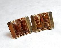 Vintage Cufflinks, Anson Cuff Links, Inlaid Leather, Rectangle Cufflinks, Brown Cufflinks, Mid Century, 1960s Mens, Hipster Jewelry, Mens
