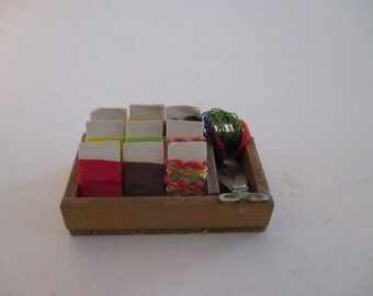 Miniatures Dollhouse Accessories Miniature Sewing Box Ribbon Card Miniature Sewing Notions Scissor Wooden Boxes YourFineHouse SHIPSWORLDWIDE