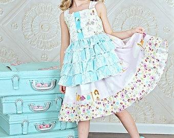 Size 4T Ready to Ship Eleanor Girls Apron Reverse Knot Dress