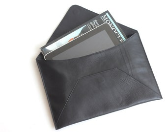 MADE TO ORDER. Leather Envelope Clutch. Leather Document Holder. Black Leather Clutch. Black Envelope Clutch. Men Work Bag