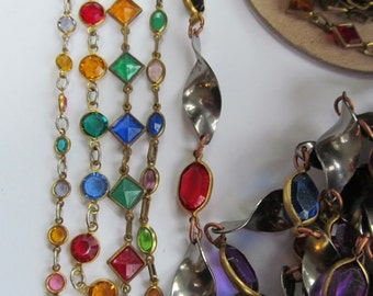 Vintage  Chanel  Linked  Chain with Crystal In Stained Glass Colors