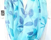 Infinity Scarf, Silk Scarf Handpainted, Gift for her, Christmas Gifts, Circle Scarf, Blue and Turquoise Vine Leaves Scarf, 14x72 inches.