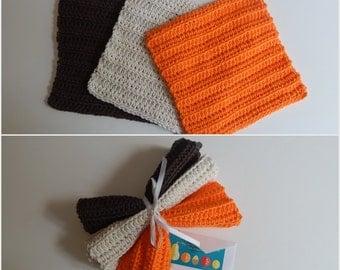 Dishcloth Gift Set – Crochet - Includes Gift Card – Brown Orange Natural