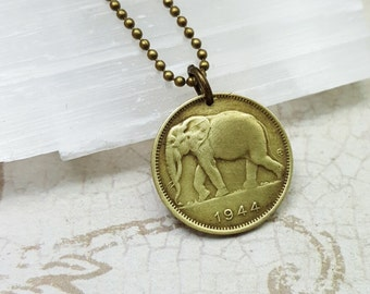 Coin necklace. Elephant necklace. Antique Elephant 1 franc coin. Rare coin. Elephant jewelry. African elephant. collectible coin or pendant