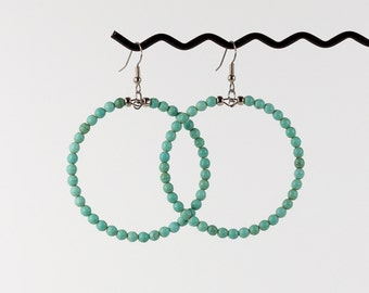 Large Boho Hoop Earrings Turquoise