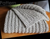 "Fisherman Blanket Extra Large Bulky Chenille Easy Crochet PATTERN 72"" x 52""/(183 x 132) cm - PDF 7252"