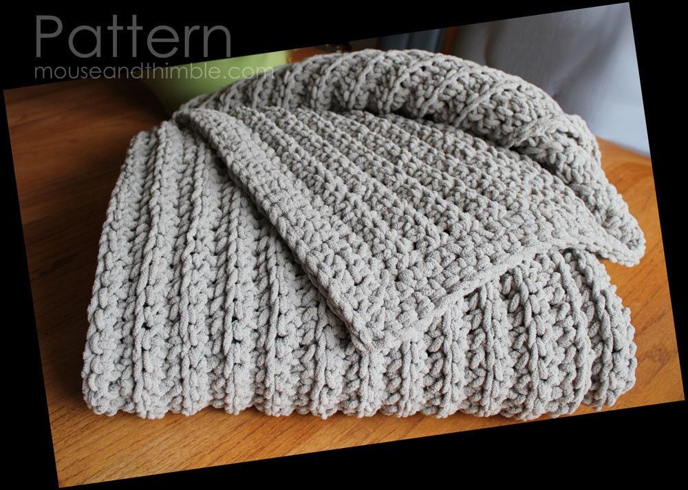 Crochet Chenille Baby Blanket Pattern : Extra Large Bulky Chenille Fisherman Blanket Easy Crochet ...